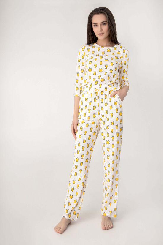 Піжама (кофта + штани) Milana - Jasmine Lingerie, колір: сірий/рожевий