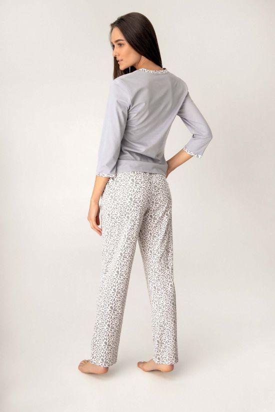 Піжама (кофта +штани) Denise - Jasmine Lingerie, колір: квітковий/сірий