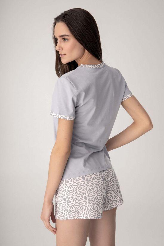 Піжама (футболка+шорти) Marisel - Jasmine Lingerie, колір: квітковий/сірий