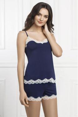 Комплект майка+шорты Arietta - Jasmine Lingerie синий/молочный