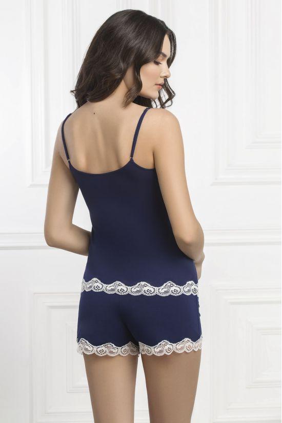 Комплект майка+шорти Arietta - Jasmine Lingerie, колір: синій/молочний