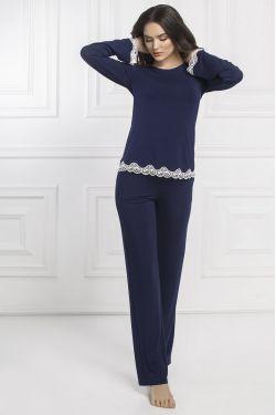 Комплект кофта+штани Bridgit  - Jasmine Lingerie синій/молочний
