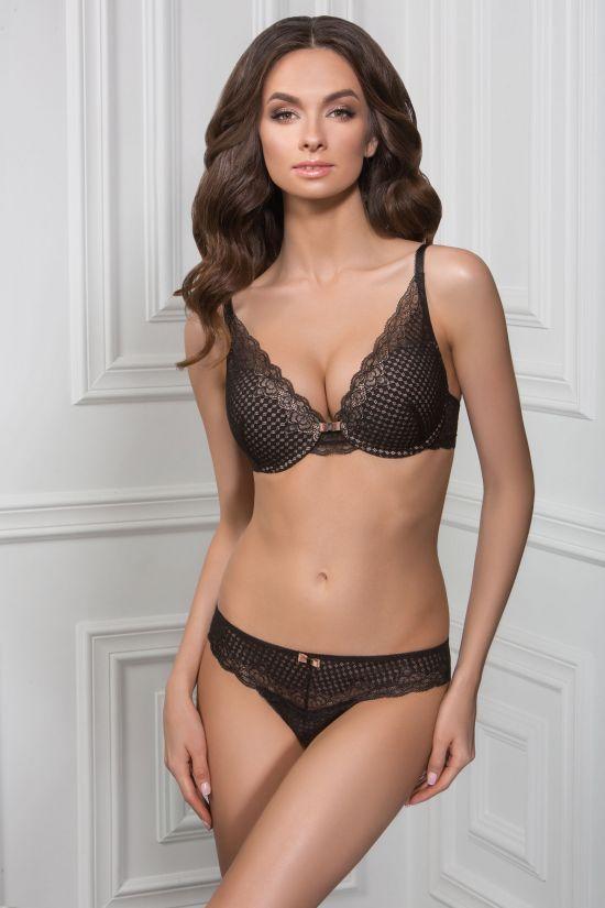 Комплект EVVA - Jasmine Lingerie, колір: чорний/бежевий