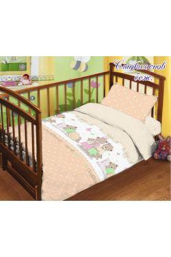 Комплект постельного белья детский в кроватку поплин Сладких снов беж - Таг текстиль