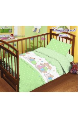 Комплект постельного белья детский в кроватку поплин Сладких снов зел - Таг текстиль