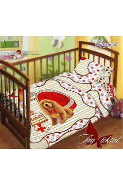 Комплект постельного белья детский в кроватку поплин Дружок - Таг текстиль