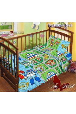 Комплект постельного белья детский в кроватку поплин Robocar Poli - Таг текстиль