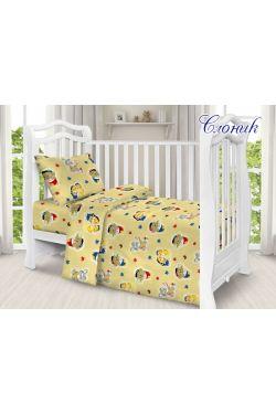 Комплект постільної білизни дитячий в ліжечко поплін Слоненя - Таг текстиль